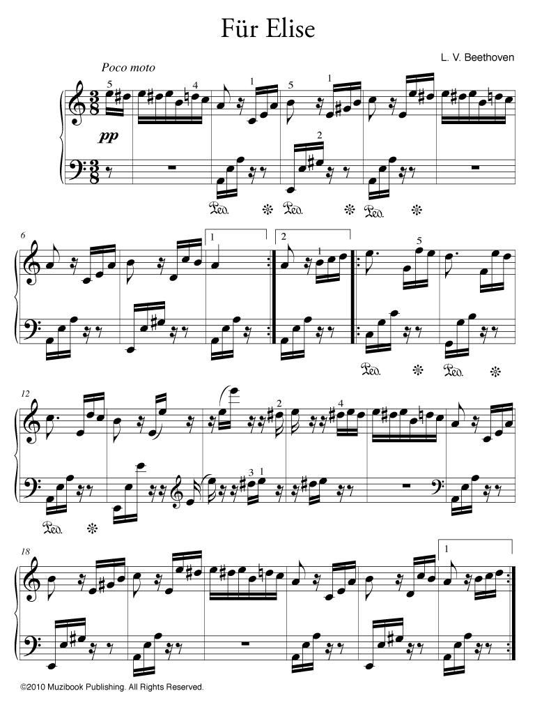 Fabuleux Partition iPad : Für Elise - Piano - De Ludwig van Beethoven  MQ15