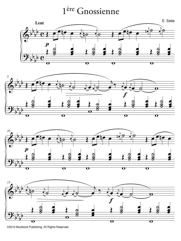 partition piano erik satie gnossienne 3